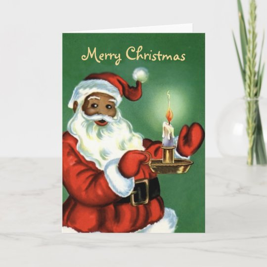 Vintage African American Christmas Card With Santa Zazzle Com