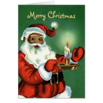 Vintage African American Christmas Card with Santa