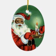 Vintage African American Christmas Ornament Santa at Zazzle