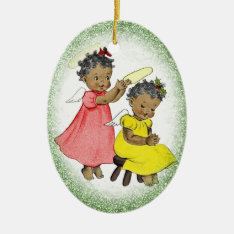 Vintage African American Girl Christmas Ornament at Zazzle