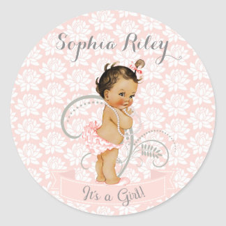 Vintage African American Latina Ethnic Baby Girl Classic Round Sticker