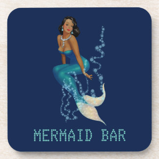 Vintage African American Pinup Mermaid in Diamonds Drink Coaster