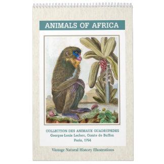 Vintage African Animals Illustrations 2018 Calendar