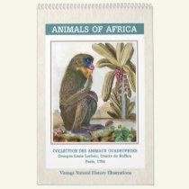 Vintage African Animals Illustrations 2019 Calendar