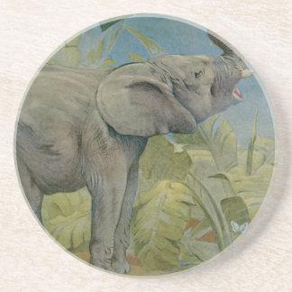 Vintage African Elephant in the Jungle, EJ Detmold Drink Coaster