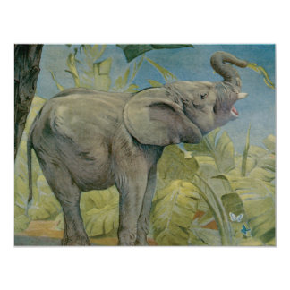 Vintage African Elephant in the Jungle, EJ Detmold 4.25x5.5 Paper Invitation Card