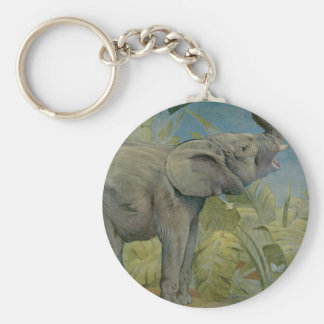 Vintage African Elephant in the Jungle, EJ Detmold Keychain