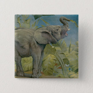 Vintage African Elephant in the Jungle, EJ Detmold Pinback Button