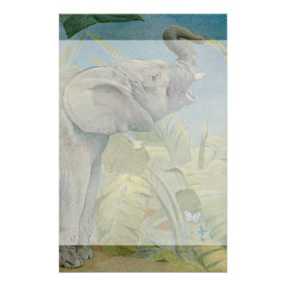 Vintage African Elephant in the Jungle, EJ Detmold Stationery