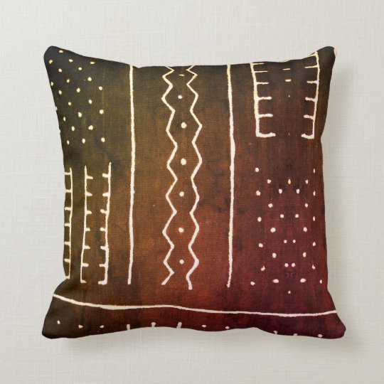 Vintage African Mud Cloth Print Throw Pillow Zazzle Com