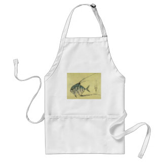 Vintage African Pompano Fish, Threadfin Trevally Adult Apron