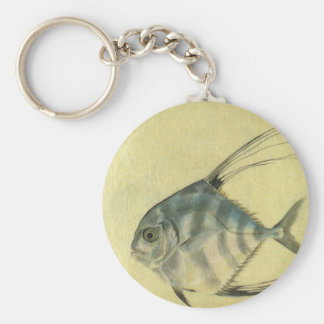 Vintage African Pompano Fish, Threadfin Trevally Keychain