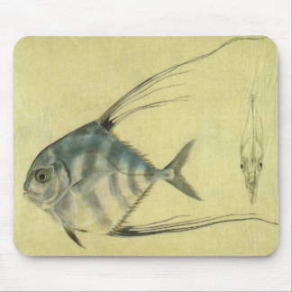 Vintage African Pompano Fish, Threadfin Trevally Mouse Pad