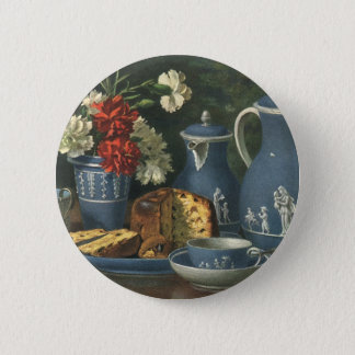 Vintage Afternoon Coffee, Cake, Tea and Flowers Button
