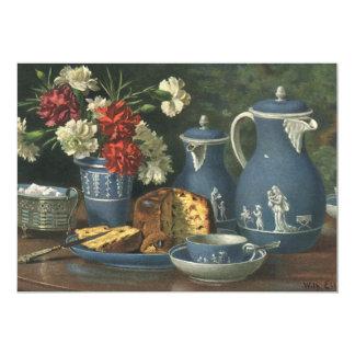 Vintage Afternoon Coffee, Cake, Tea and Flowers Card