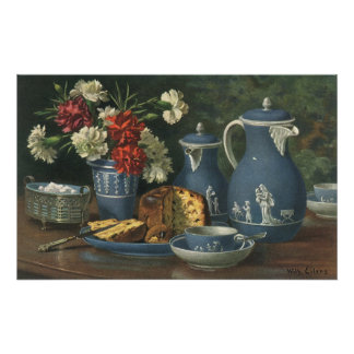 Vintage Afternoon Coffee, Cake, Tea and Flowers Poster