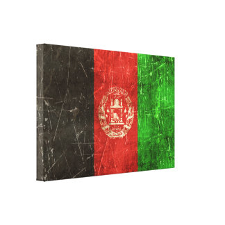 Vintage Aged and Scratched Flag of Afghanistan Canvas Print