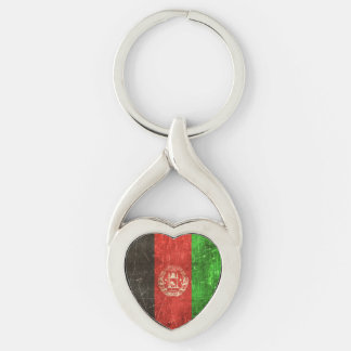 Vintage Aged and Scratched Flag of Afghanistan Keychain