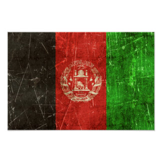 Vintage Aged and Scratched Flag of Afghanistan Poster