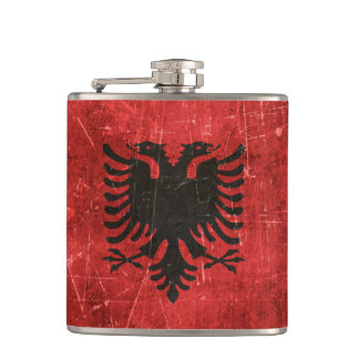 Vintage Aged and Scratched Flag of Albania Flask