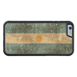 Vintage Aged and Scratched Flag of Argentina Carved® Maple iPhone 6 Bumper