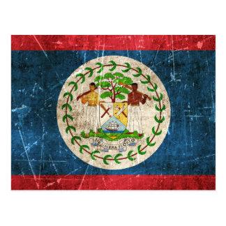 Vintage Aged and Scratched Flag of Belize Post Card