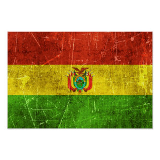 Vintage Aged and Scratched Flag of Bolivia Poster