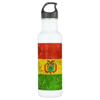 Vintage Aged and Scratched Flag of Bolivia Water Bottle