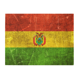Vintage Aged and Scratched Flag of Bolivia Wood Wall Art