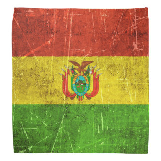 Vintage Aged and Scratched Flag of Bolivia Bandana