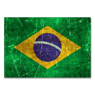 Vintage Aged and Scratched Flag of Brazil Card