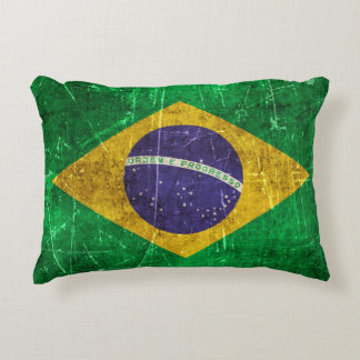 Vintage Aged and Scratched Flag of Brazil Decorative Pillow