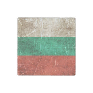 Vintage Aged and Scratched Flag of Bulgaria Stone Magnet