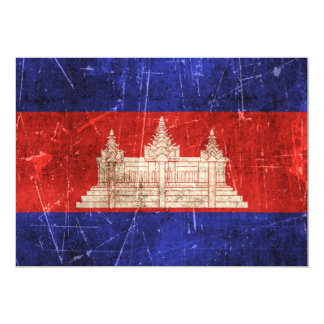Vintage Aged and Scratched Flag of Cambodia 5x7 Paper Invitation Card