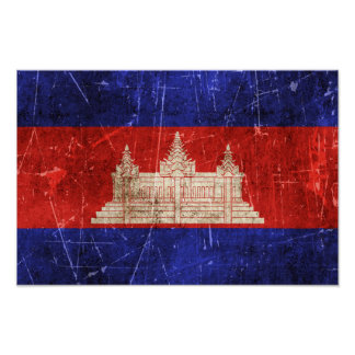 Vintage Aged and Scratched Flag of Cambodia Print