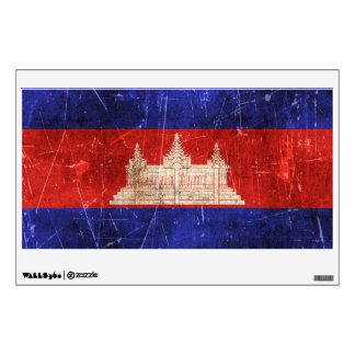 Vintage Aged and Scratched Flag of Cambodia Room Sticker