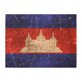 Vintage Aged and Scratched Flag of Cambodia Wood Canvases