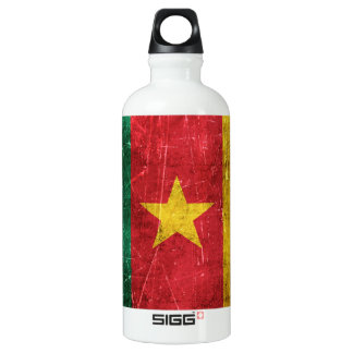 Vintage Aged and Scratched Flag of Cameroon Aluminum Water Bottle