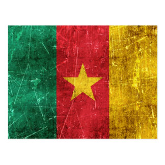 Vintage Aged and Scratched Flag of Cameroon Postcard