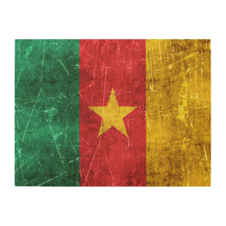 Vintage Aged and Scratched Flag of Cameroon Wood Wall Art