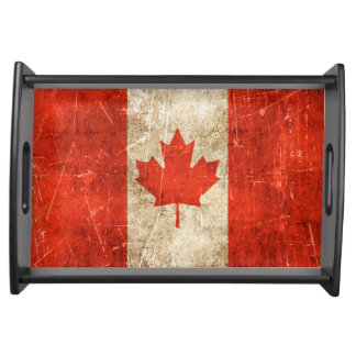 Vintage Aged and Scratched Flag of Canada Serving Tray