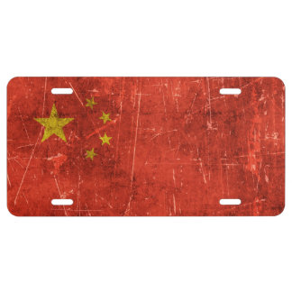 Vintage Aged and Scratched Flag of China License Plate