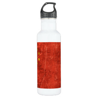 Vintage Aged and Scratched Flag of China Water Bottle