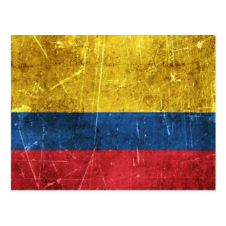 Vintage Aged and Scratched Flag of Colombia Postcard
