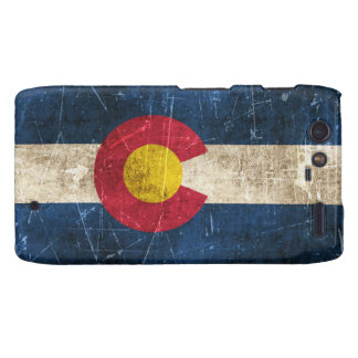 Vintage Aged and Scratched Flag of Colorado Motorola Droid RAZR Cases