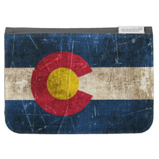 Vintage Aged and Scratched Flag of Colorado Kindle Folio Case