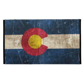 Vintage Aged and Scratched Flag of Colorado iPad Folio Covers
