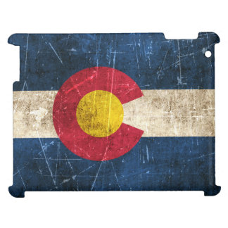 Vintage Aged and Scratched Flag of Colorado iPad Case