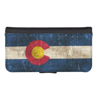Vintage Aged and Scratched Flag of Colorado Phone Wallet Cases