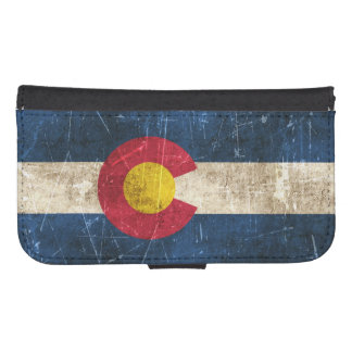 Vintage Aged and Scratched Flag of Colorado Phone Wallet